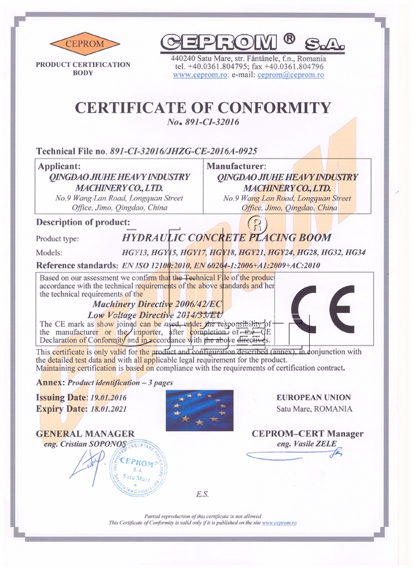 Concrete placing boom CE Certificate