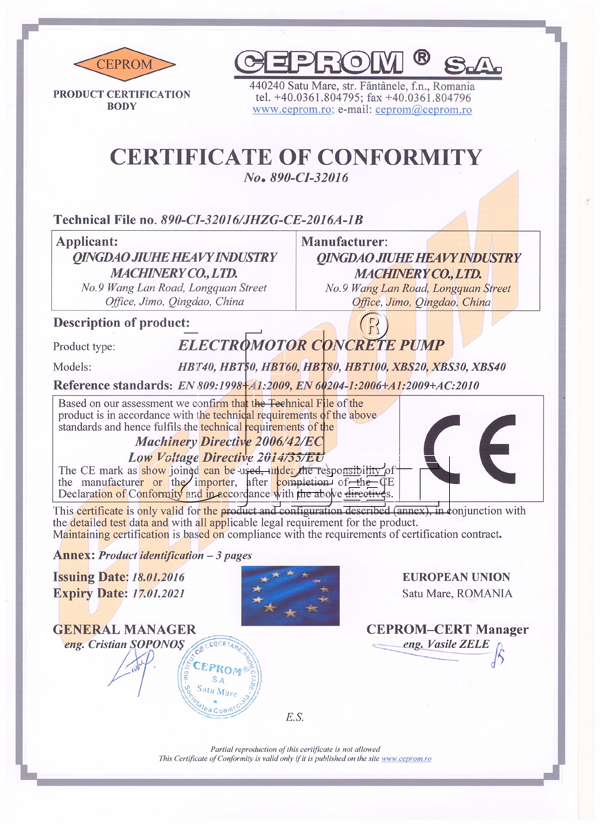 Electric concrete pump CE certificate
