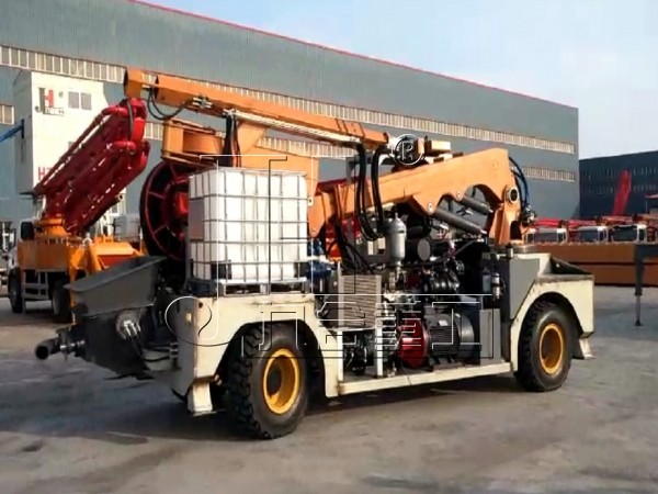 concrete spraying pump machine with wheels